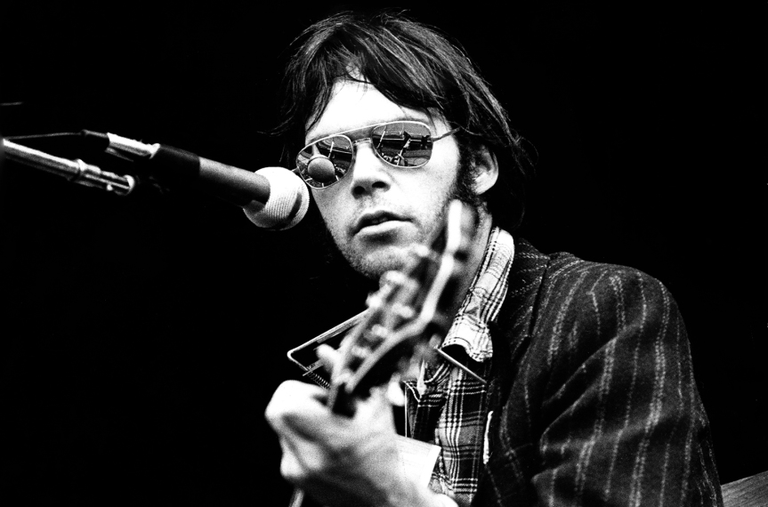 Neil Young Performs Live At Wembley Stadium