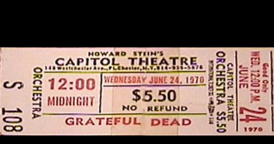 Grateful Dead Capitol Theater Ticket 6-24-70