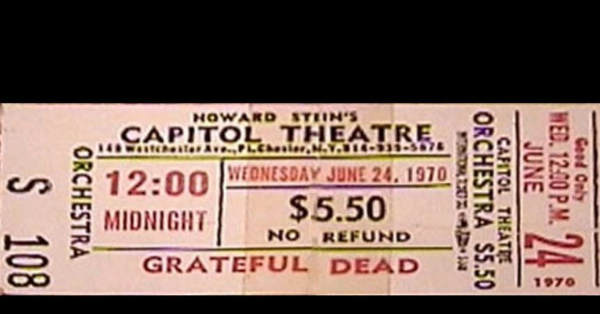Grateful Dead Capitol Theater Ticket 6-24-70